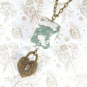 Peace Stone Jasper Bronze Lock Necklace